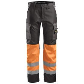 Pantalon HV orange-noir de Snickers, EN 20471 cl. 1   Taille 48