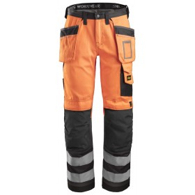 Pantalon Snickers HV classe 2, Orange avec poches holster | Taille 46