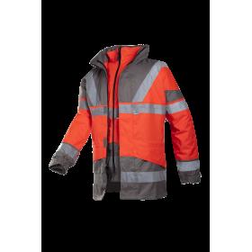 Parka 4 en 1 EN 20471 rouge fluorescent et gris | Taille XXL